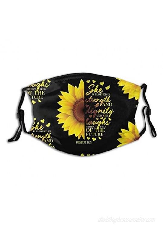 Light Smile Sunflower Face Mask Washable Reusable Face Bandanas Balaclava For Men Women With 2 Pcs Filters