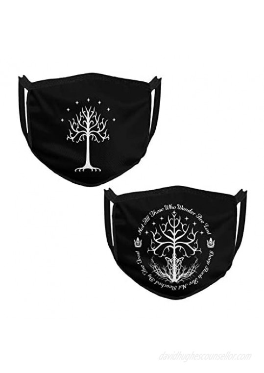 Mask-White Tree Of Hope - Lord Of The Rings Black Border Dust-Proof For Men And Women 2pcs Reusable Washable