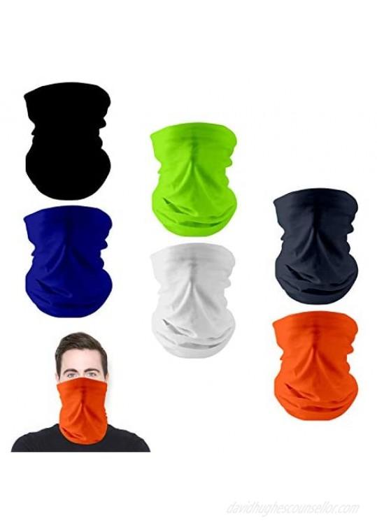 Neck Gaiter Scarf 6pcs Face Bandana Face Covering Headband Balaclavas for Dustpoof Fishing Hiking Women Men