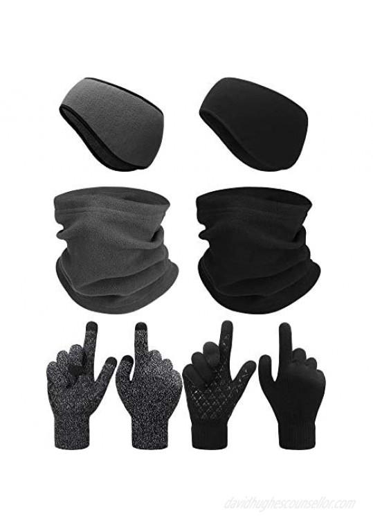 SATINIOR 6 Pieces Ear Warmer Headband Warmer Face Mask Fleece Neck Gaiter Touch Screen Winter Knit Gloves for Men and Women