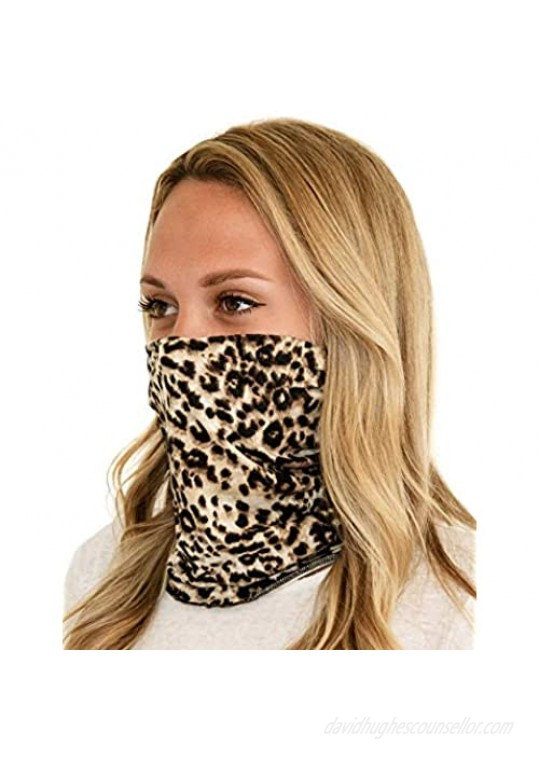 Tart Collections Fabric Face Buff Neck Gaiter Washable and Reusable Unisex Leopard