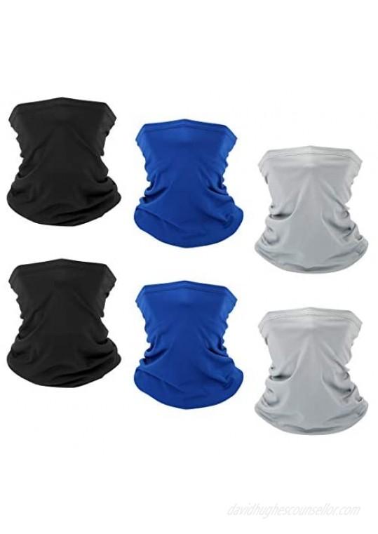 6 PCS Sun UV Protection Face Mask Neck Gaiter Windproof Scarf Sunscreen Breathable Bandana Balaclava for Sport&Outdoor (Color3(6 PCS))