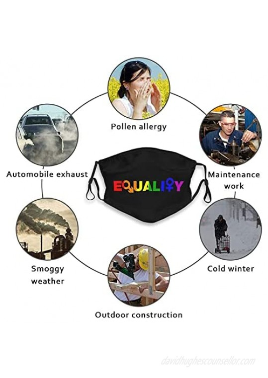 Rainbow LGBTQ Pride 4 Pcs Face Summer Cover Gay Style Mask Soft Cool with 8 Filters Breathable Washable Anti Dust