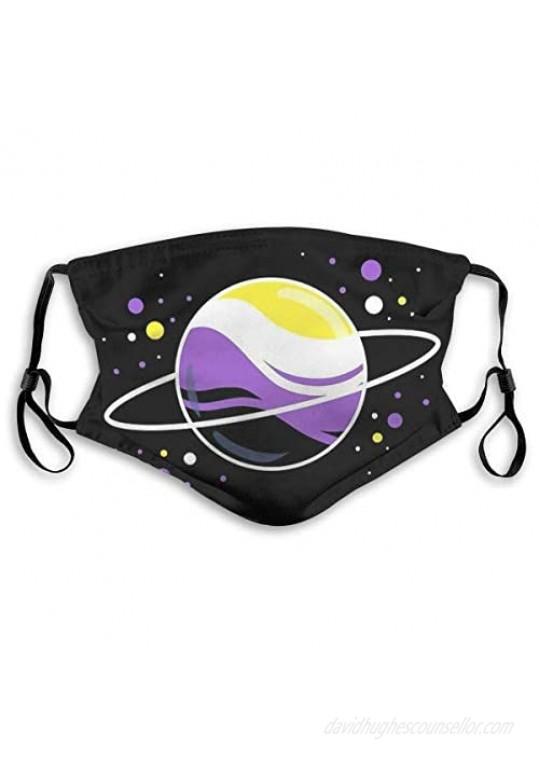 Xinclubna Nonbinary Space Planet Mask Face Guard Face Shield Face Masks Medium Filter2pcs Black