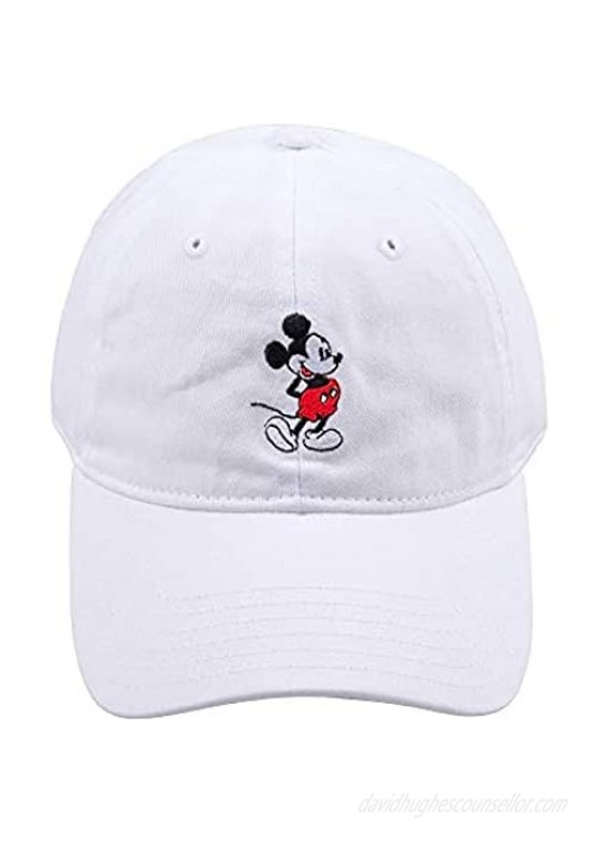 Disney Men's Mickey Mouse Baseball Hat Washed Twill Cotton Adjustable Dad Cap White one size