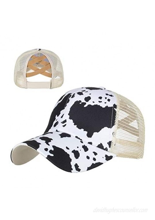 Uphily Adjustable Washed Distressed Ponytail Bun Hat for Women and Girls