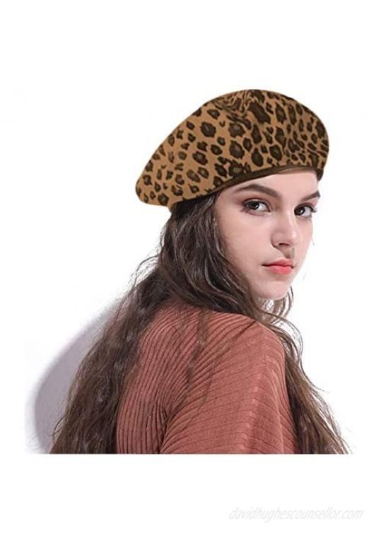 CHIC DIARY Women Vintage Leopard Print Beret Hat Ladies Warm Beanie Cap