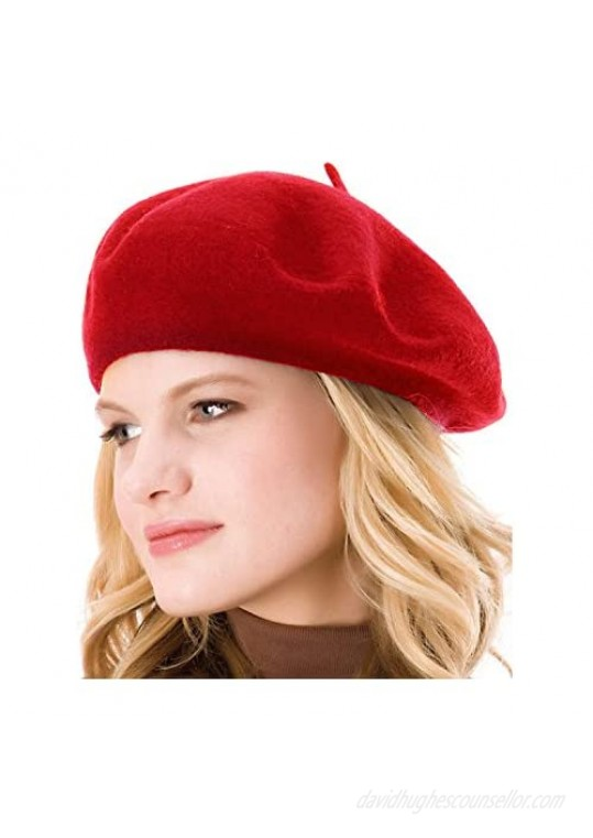 HengwoYS Womens Solid Color Beret Wool French Beanie Cap Hat…