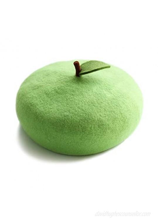 Lolita Cute Green Apple Beret Hat Pumpkin hat Vintage Artist Cap Accessories for Women