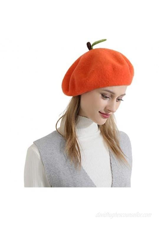 Zasy Wool Beret hat Handmade Wool Felt Cartoons Beanies French Women Girls Cap