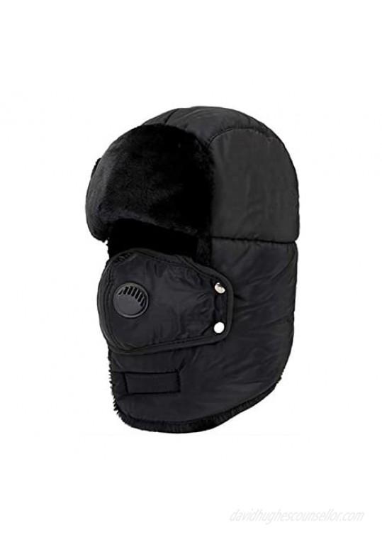 HOPENE Trapper Hat Full Coverage Winter Hats with Mask Windproof Ushanka for Women Men
