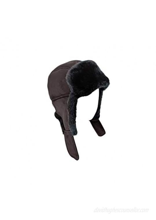 surell Genuine Trapper Faux Fur Aviator Hat - Warm Bomber Trooper Hat - Perfect Winter Luxury Gift (Black)