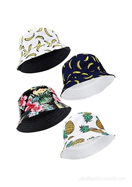 4 Pack Print Bucket Hat Cute Fishermen Cap Summer Packable Sun Cap for Women