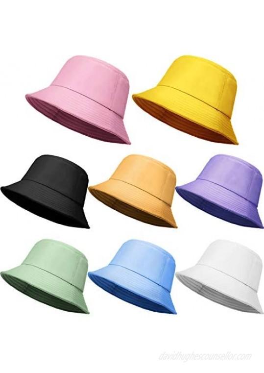 8 Pieces Bucket Hat Foldable Packable Bucket Cap Bucket Sun Hat for Unisex Wide Brim Outdoor Summer Cap Hiking Beach Sports 8 Colors