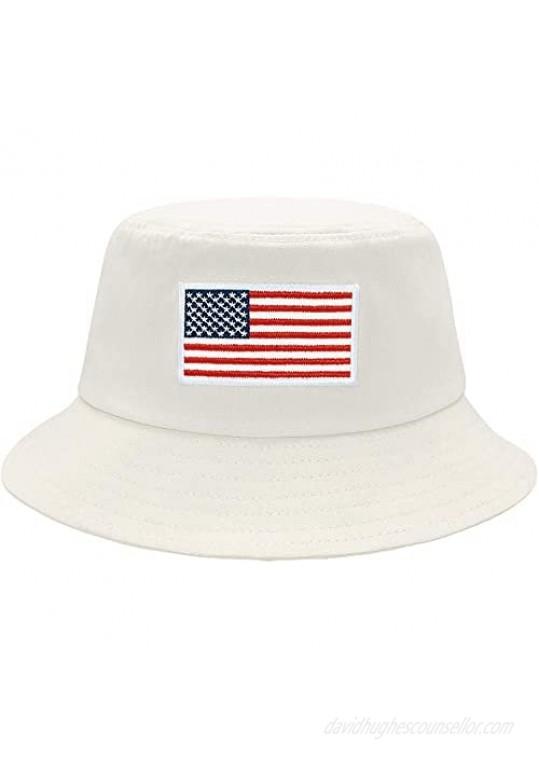 Bucket Hat Unisex-Adult American Flag Embroidered Hat Summer Travel Beach Sun Hat Visor Outdoor Fisherman Cap