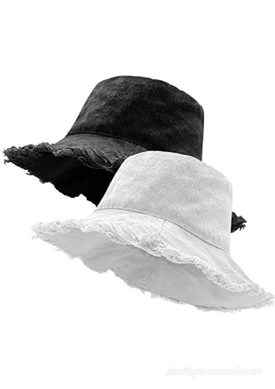 XSKJY 2 Pack Frayed Bucket Hat Distressed Bucket Hat Beach Hat for Women