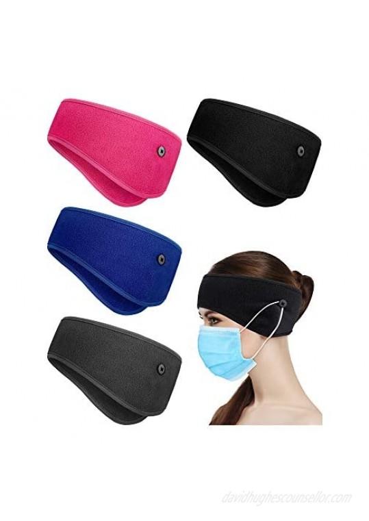 4 Pieces Ear Warmer Headband Elastic Button Headband Winter Ear Muff Headband