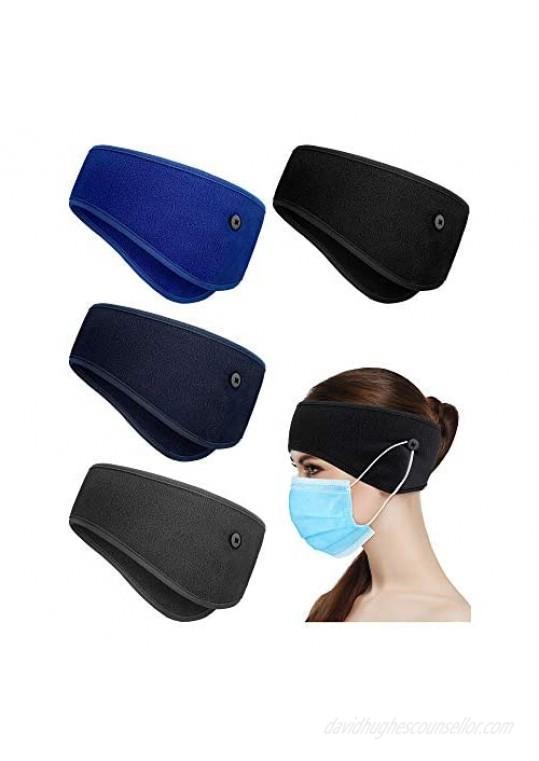 4 Pieces Ear Warmer Headband Elastic Button Headband Winter Sports Headband Full Cover Ear Muff Headband for Yoga Outdoor Sports Activities (Black  Navy Blue  Bright Blue  Dark Grey)
