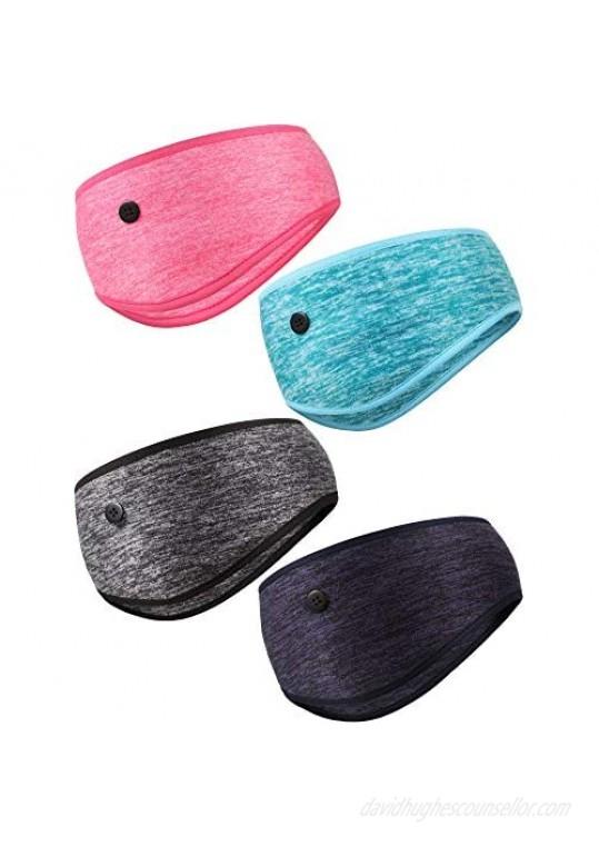 4 Pieces Yoga Button Headbands Ear Warmer Ear Muff Elastic Head Wraps for Men Women Outdoor Activity