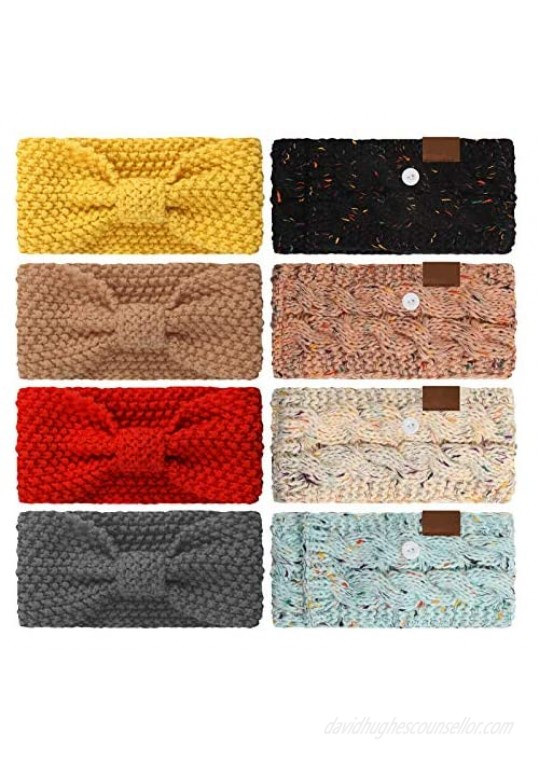 8 Pieces Winter Headband with Button Women's Cable Knitted Bow Headbands Ear Warmer Headband for Valentine's Day Daily Wear Sport