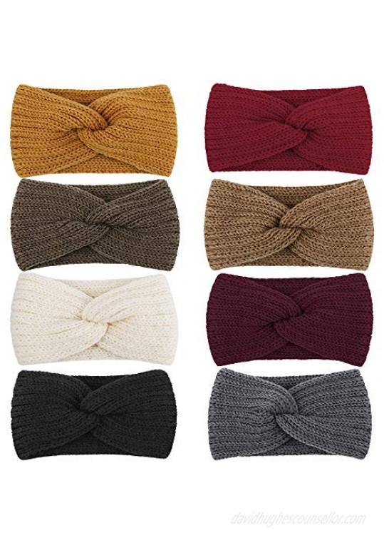 Didder 8 Pieces Winter Headbands for Women Ear Warmer for Women Soft Knitted Crochet Turban Headbands Womens Winter Headbands Headwrap Warm Braided Hair Bands Button Headbands for Women Girls
