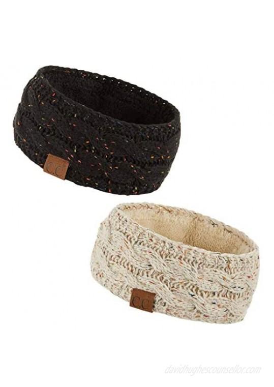 HATSANDSCARF Winter Fuzzy Fleece Lined Thick Knitted Headband Headwrap Earwarmer (HW-20) (Black)