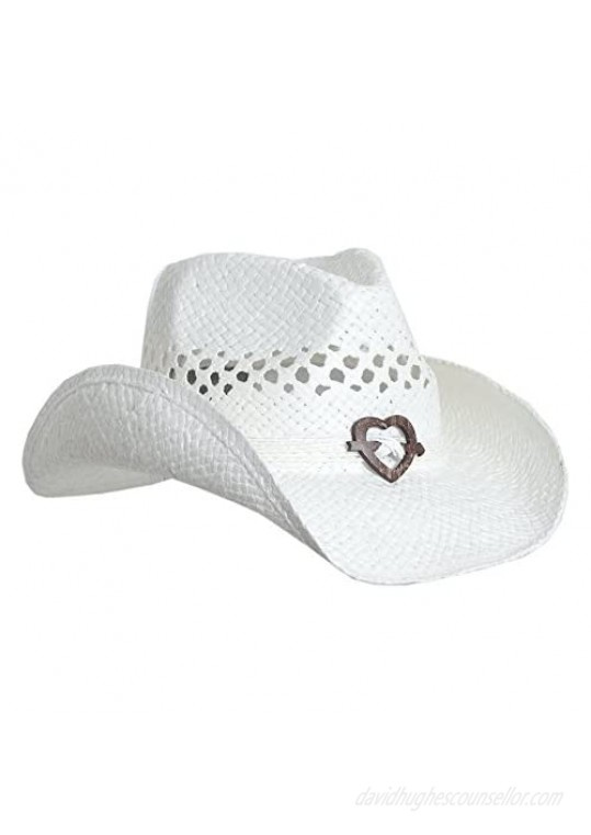 Boho Hip Cowboy Hat with Heart Concho Natural Toyo Straw Shapeable Brim