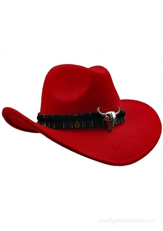 Yosang Wide Brim Men and Woman's Western Outback Cowboy Hat with Metal Bull Head