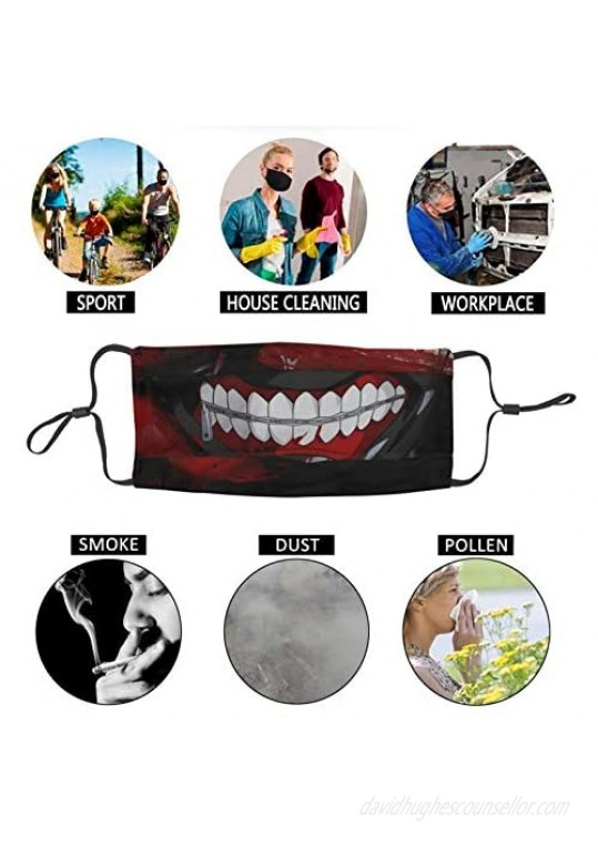 2PCS Men's Mouth Mask with 6 Filters Adjustable Washable Reusable Face Cover Neck Gaiter Bandana for Youth and Adult