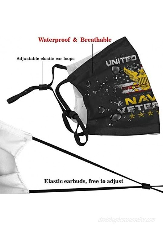 United States Navy Veteran-Face Mask with Filters Washable Reusable Scarf Balaclava for Women Men Adult Teens