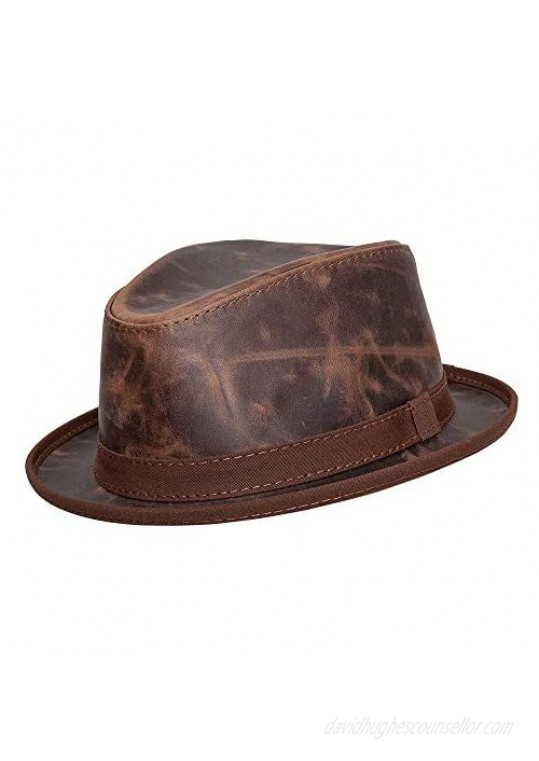 American Hat Makers Soho Leather Fedora — Handcrafted Travel Friendly