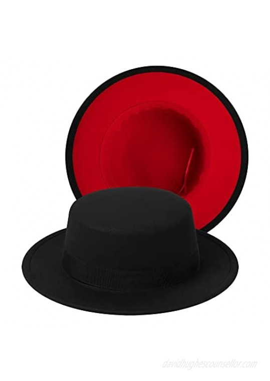 Classic Fedora Hat Two Tone Flat Top Hat with Band Wide Brim Pork Pie Hat Adjustable Patchwork Colors Panama Hat