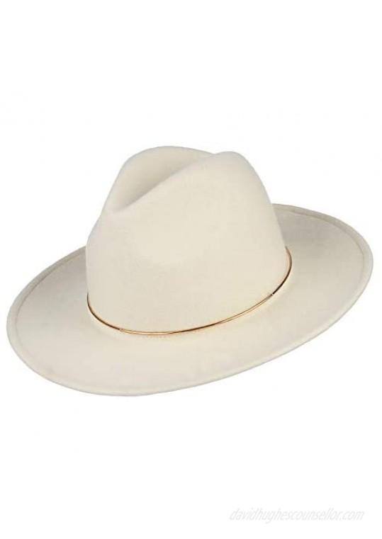 GEMVIE Womens 100% Wool Fedora Hat Vintage Wide Flat Brim Trilby Panama Wool Felt Hat with Alloy Band