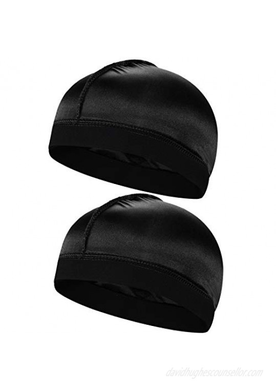 2pcs Silky Stocking Wave Cap Satin Doo Rags Compression Cap for Men for 360 540 720 Waves (2pc Black)