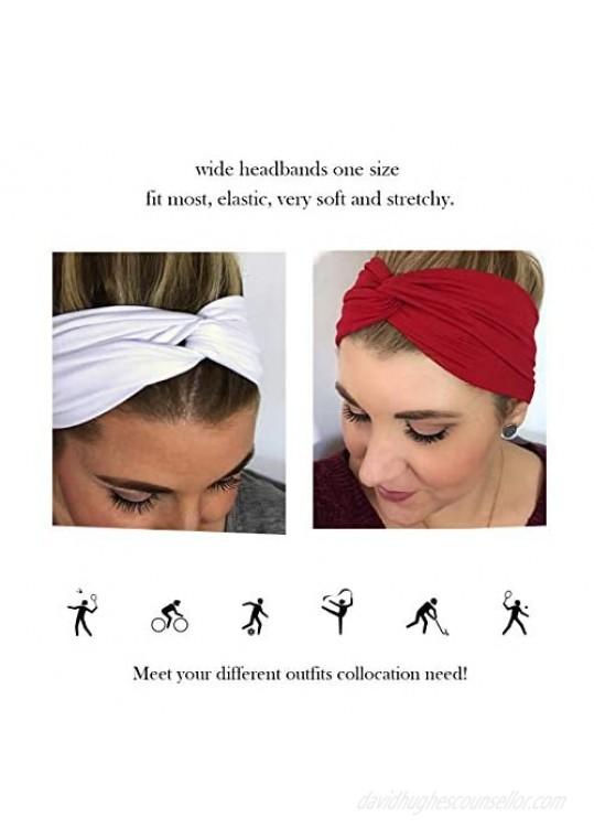 DRESHOW 4 Pack Cross Headbands Vintage Elastic Head Wrap Stretchy Hairband Twisted Cute Hair Accessories
