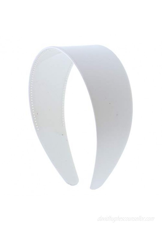 White 2 Inch Hard Plastic Headband with Teeth Women and Girls wide Hair band (Motique Accessories)