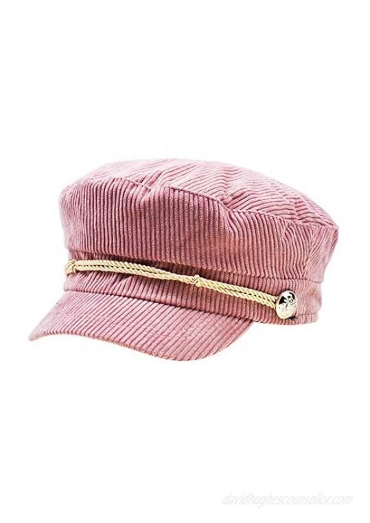 Jewelry-Box Women Ladies Hat Corduroy Captain's Breton Cap Beatles Lennon Newsboy Cadet Black