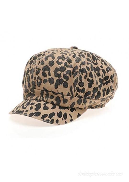 MIRMARU Women's Leopard Animal Printed Newsboy Visor Hat Baker Cabbie Cap with Elastic Back.