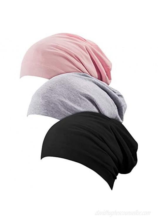 3 Pieces Women Turban Pre-Tied Bonnet Braid Turban African Head Wrap for Woman