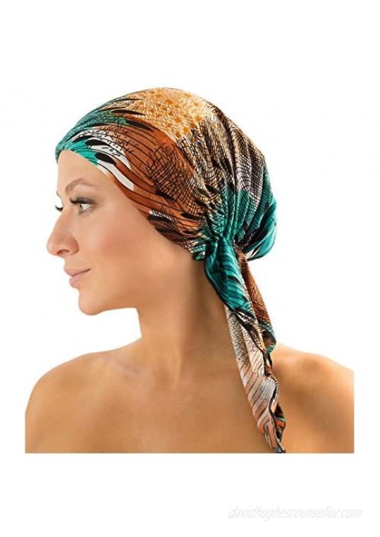 Ashford & Brooks Pre Tied Bandana Turban Chemo Head Scarf Sleep Hair Cover Hat