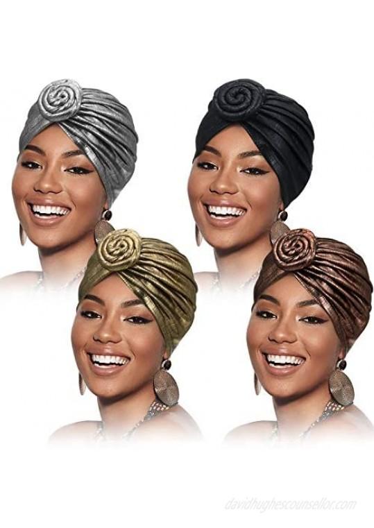 Frienda 4 Pieces African Headwraps Pre-Tied Bonnet Turban Knot Beanie Cap Headwrap Hat for Women Girls Favors 4 Colors