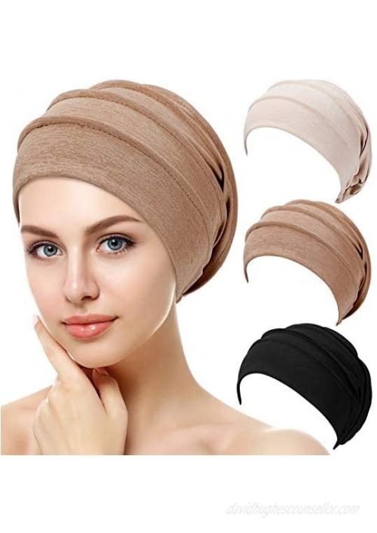 Syhood 3 Pieces Slouchy Beanies Hats Soft Sleep Cap Stretchy Sleeping Cap Elastic Hair Wrap Headwear for Women  Black Brown Beige