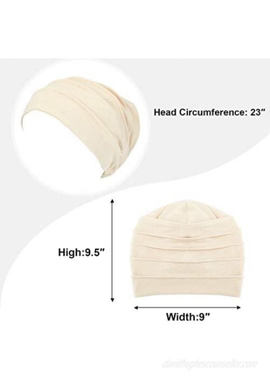 Syhood 4 Pieces Slouchy Beanies Hats Soft Cotton Sleep Cap Stretchy Sleeping Cap Headwear for Women