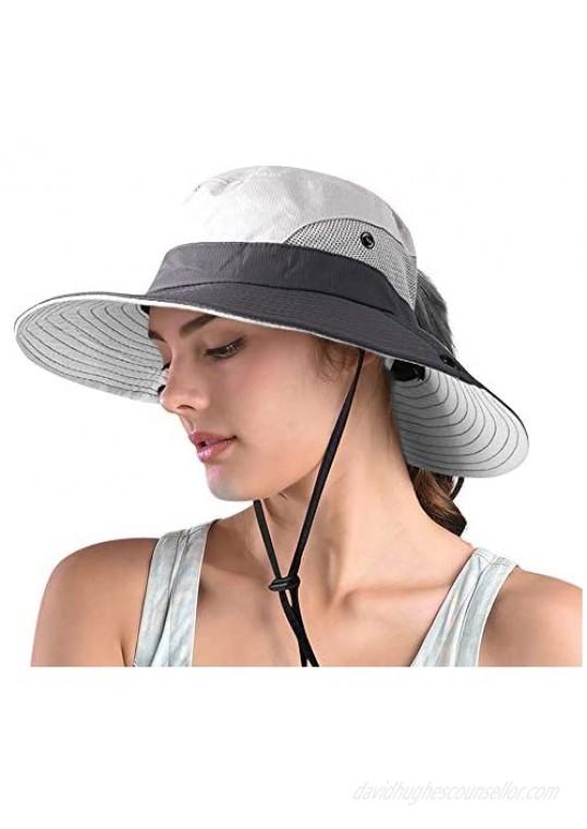Ponytail Sun Hats for Women Wide Brim Summer Safari Beach Hat Outdoor UV Protection Bucket Fishing Hat