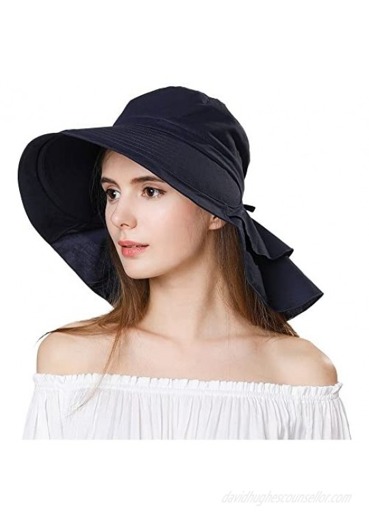 Siggi Summer Pony Tail Flap Cap UPF 50+ Cotton Sun Hat with Ponytail Hole Neck Cover Cord for Women 55-61cm