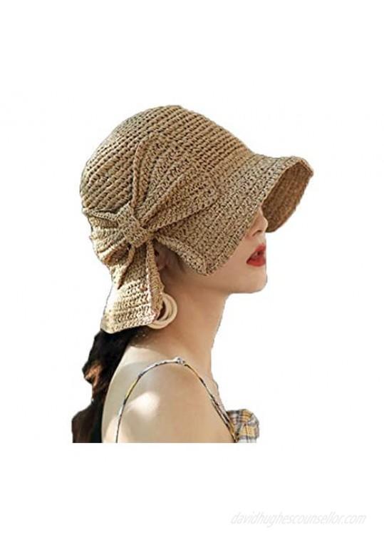 Womens Summer Sun Beach Straw Hat UPF50 Travel Foldable Wide Brim Summer UV Hat with Big Bow
