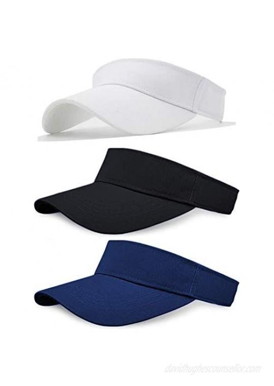 Sikuer Sun Visor Adjustable Visor Hat Cotton Outdoor Sport Beach Golf Visor Cap for Women Men 3 Color Packed adjustable