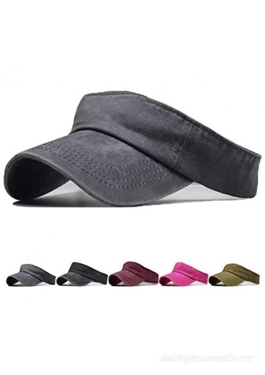 Unisex Sun Visor Hats for Women Men Adjustable Athletic Open-top Sports Visor Hat for Men Cotton Hats