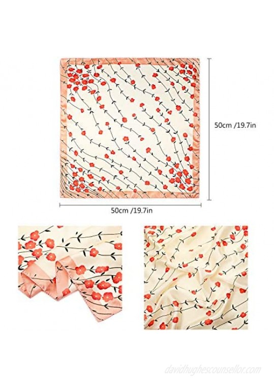 20 Pieces Women Satin Square Scarf Silk Feeling Hair Scarf Mixed Color Small Square Scarf Neck Head Scarf for Women Girls Favors Random Color