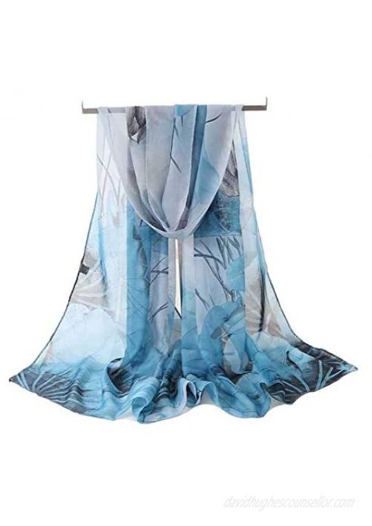 Acotavie Women's Chiffon Scarf Lightweight Fashion Sheer Scarfs Shawl Wrap Scarves